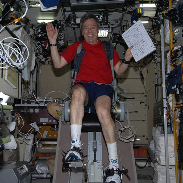 Former Canadian astronaut Robert Thirsk enjoys cycling on board the ISS