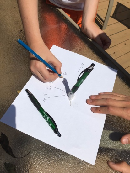 Students using a sundial to measure the movement of the Sun