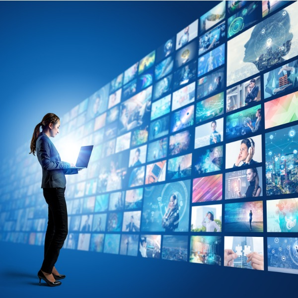 Woman exploring video options