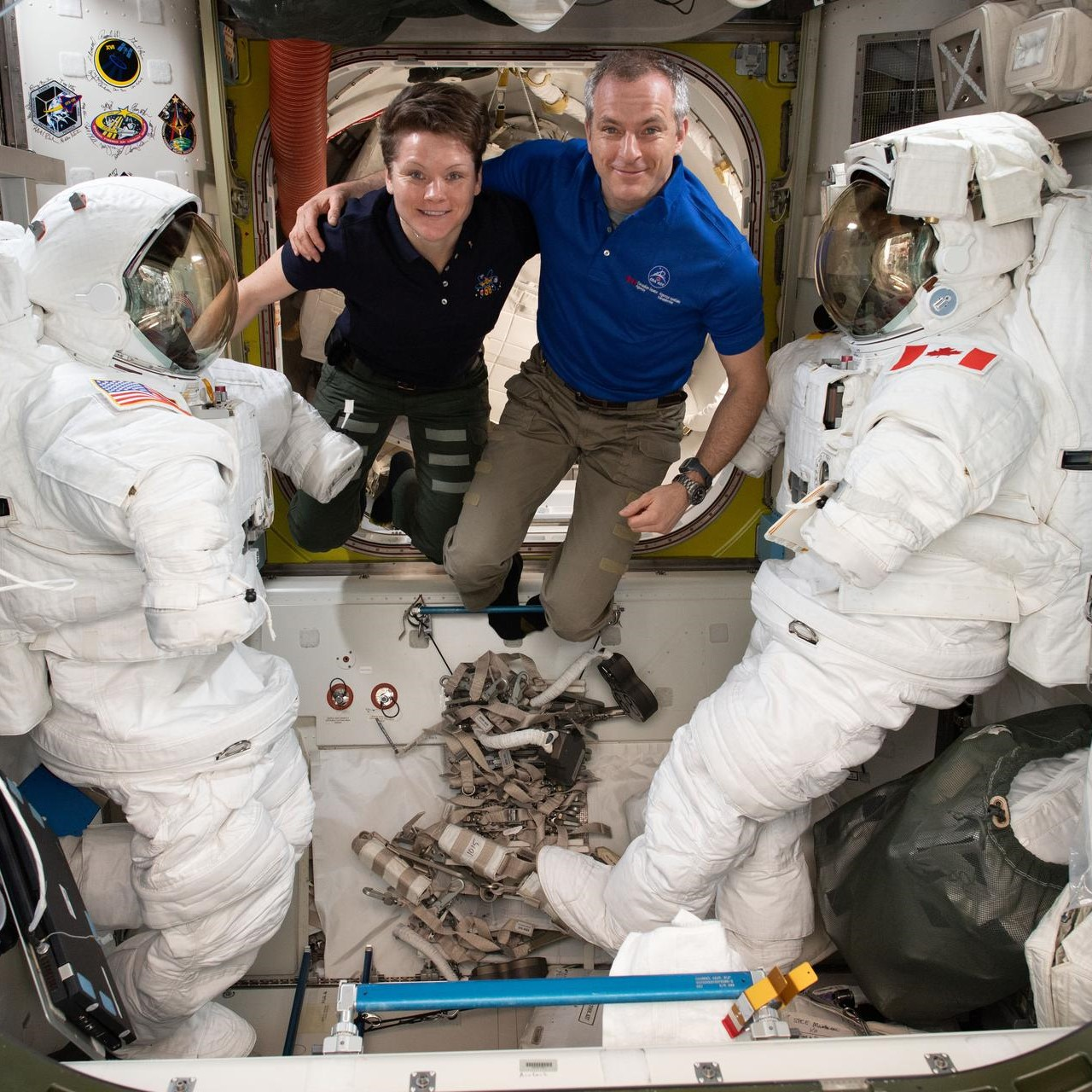 Astronauts Anne McClain and David Saint-Jacques
