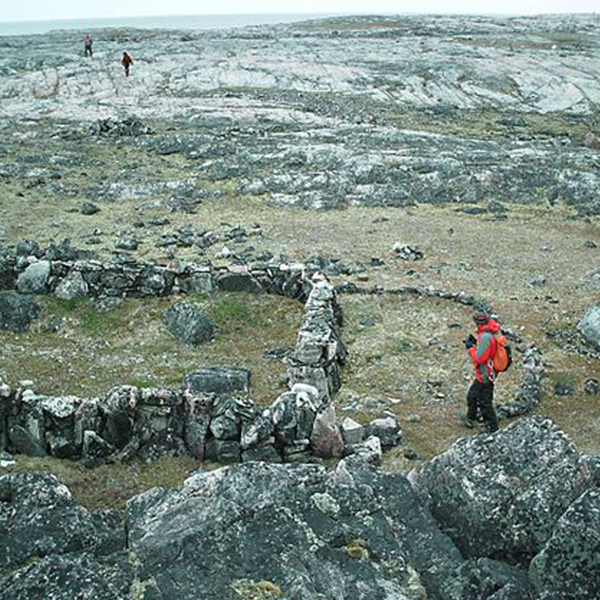 Several longhouse and other stone structures on Pamiok Island, in Ungava Bay, Quebec