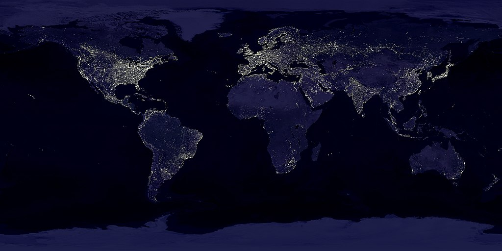 Composite image of Earth at night showing light pollution