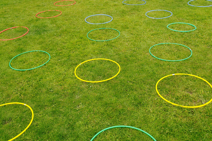 Hula hoops on grass