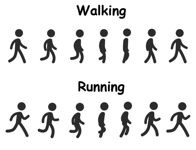 Stick person walking and running