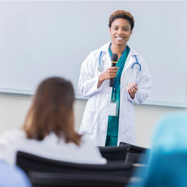 Young doctor speaking about career