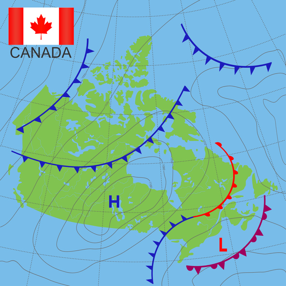 High and low pressure systems on a map of Canada