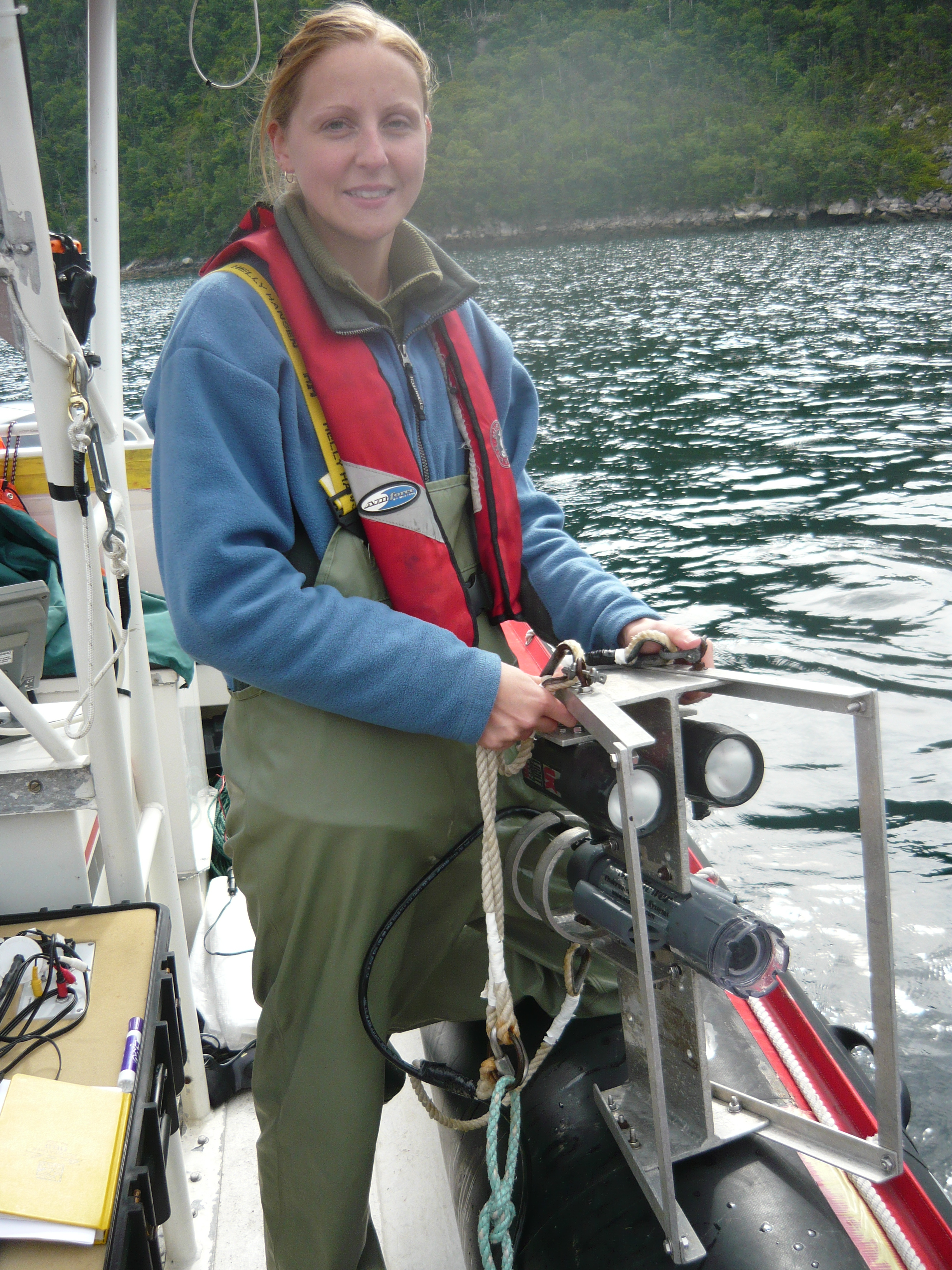 Allison Kendall at work on boat