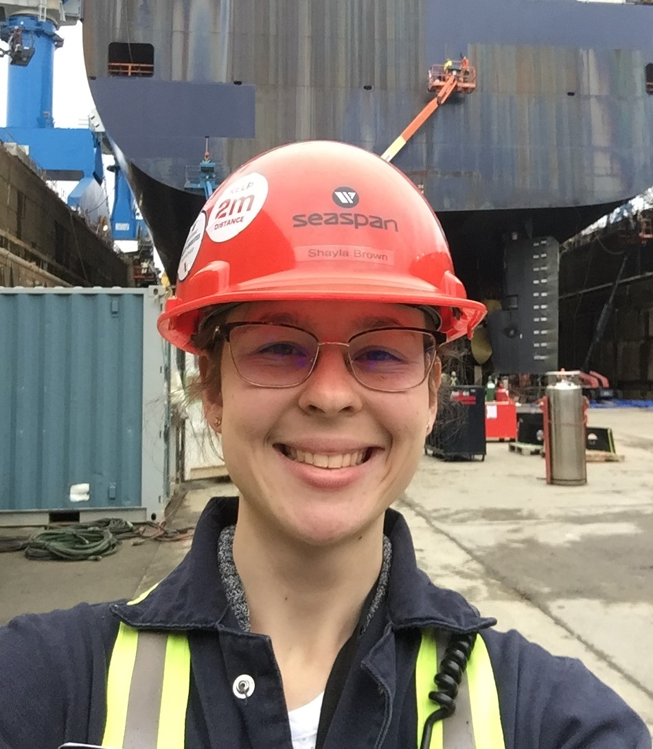 Shayla Brown at work in shipyard