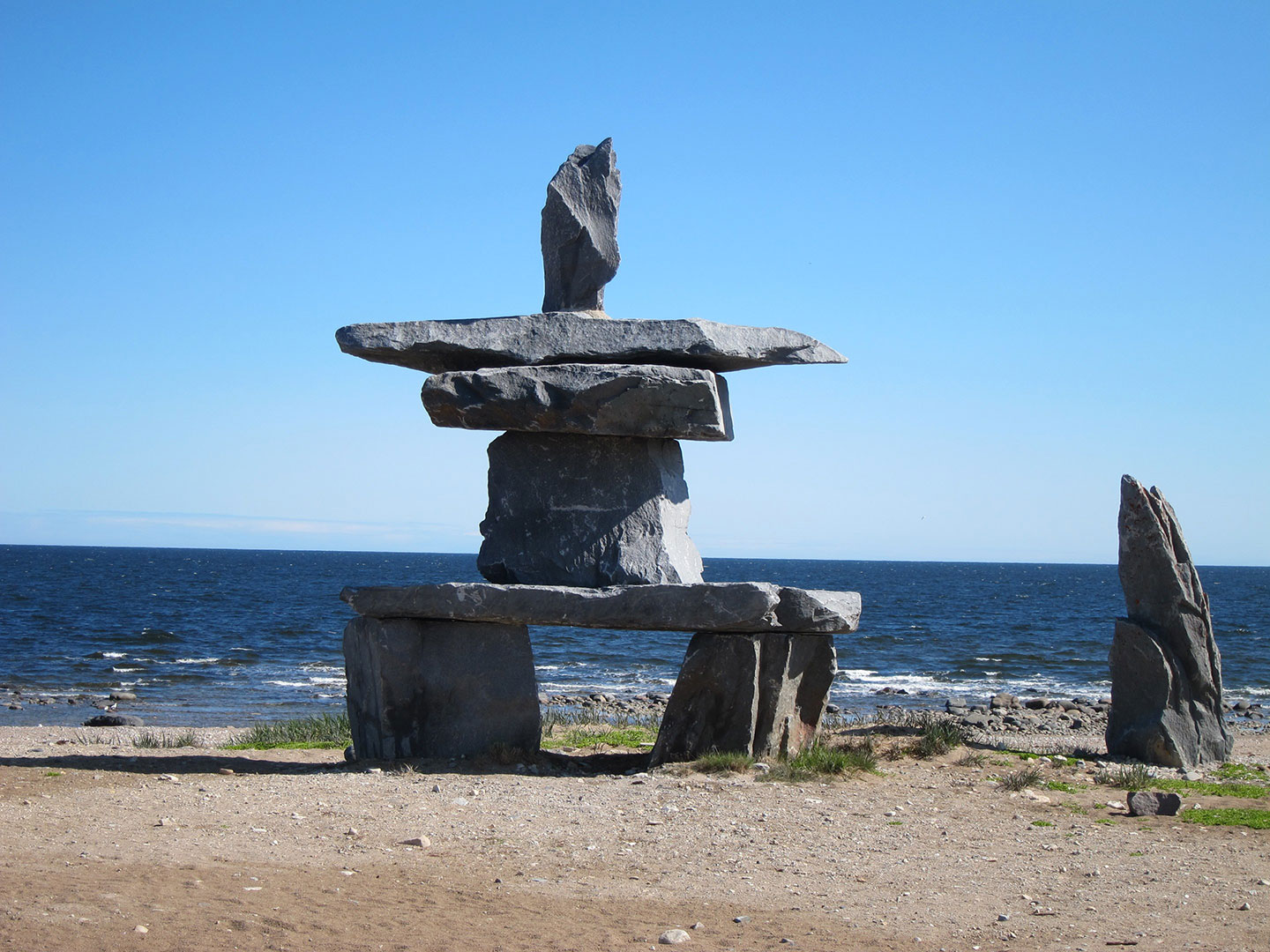 Inukshuk seen on a clear day