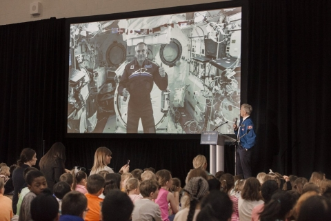 Canadian Astronaut David Saint-Jacques speaks with students in Alberta from the International Space Station through a video call