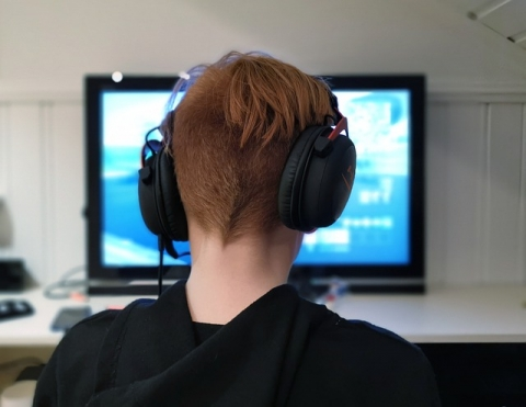 Boy using headphones