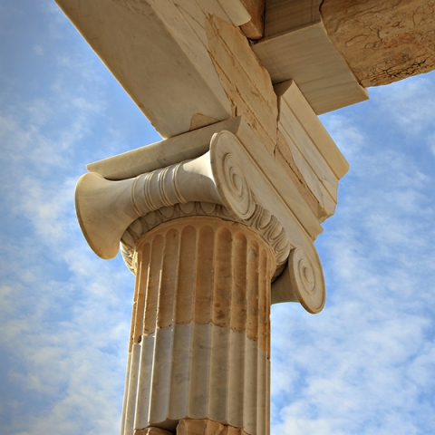 A column supporting the roof the Parthenon in Greece