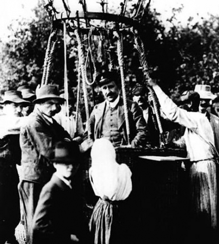 Victor Francis Hess preparing to go up in a hot air balloon