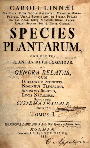 Title page of Species plantarum
