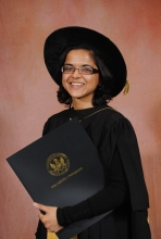 Namratt Joshi in her PhD robes
