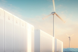 Wind turbines with energy storage system