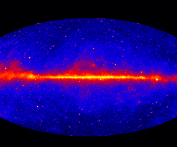 NASA's Fermi Gamma Ray Space Telescope helps us see gamma rays, which humans cannot see with the naked eye. This image shows gamma rays from the Milky Way. Source: NASA via Wikimedia Commons