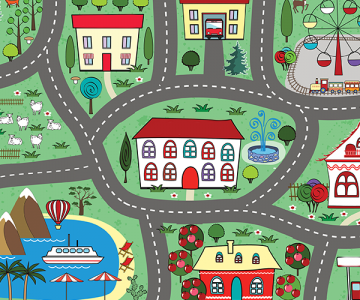 Children's play mat with pictures of a road and landmarks