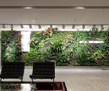 Green walls in an office building (Ronald Lu & Partners, Wikimedia Commons)