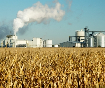 orn ethanol plant next to corn field