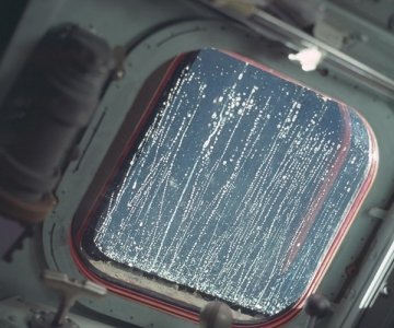 Condensation on the window of the Apollo 12 Lunar Module, November 1969