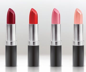 A set of lipstick in various colours