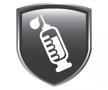 Icon showing a syringe on a shield
