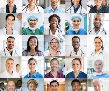 Diverse group of healthcare workers