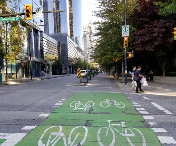 Bike lane in downtown Vancouver, British Columbia