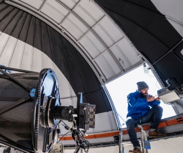 Astronomer technician in observatory