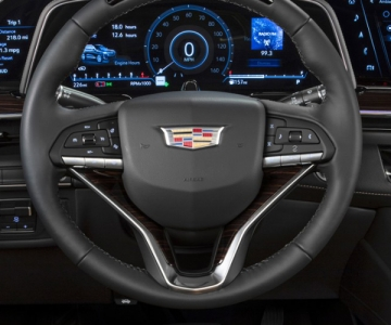 Steering wheel and dashboard of a 2021 Cadillac Escalade