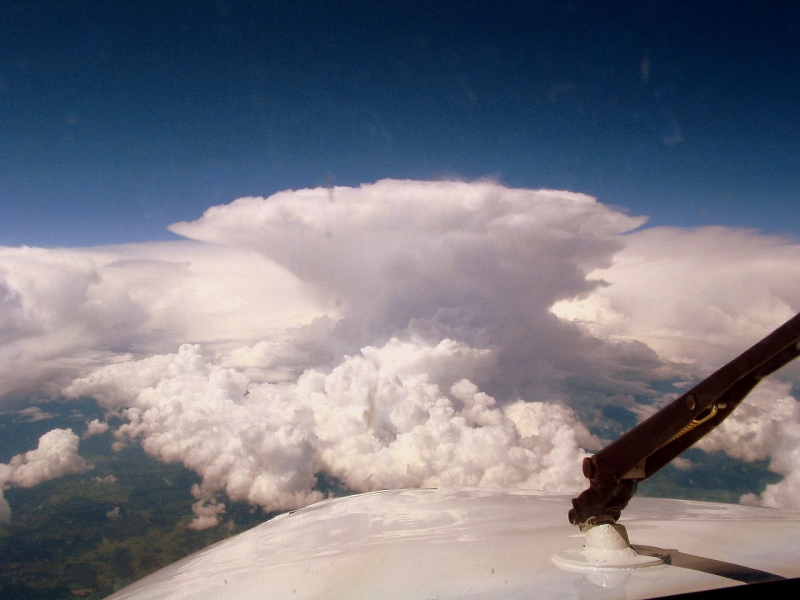 Cumulonimbus clouds as seen from a small aircraft