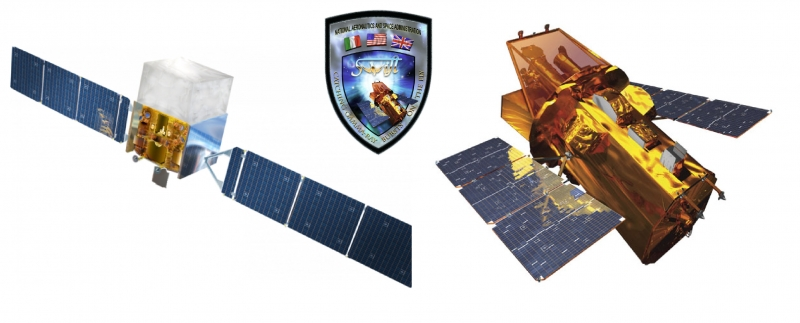 Left to right: Fermi Gamma-Ray Space Telescope (NASA), Swift mission patch (NASA E/PO, Sonoma State University, Aurore Simonnet) and Swift Observatory (NASA E/PO, Sonoma State University, Aurore Simonnet).