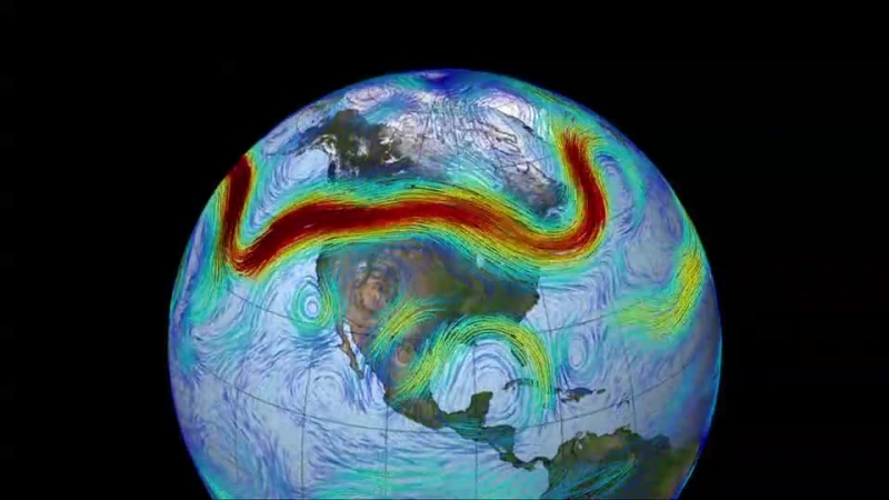 Animation of jet streams. The strongest winds are coloured red