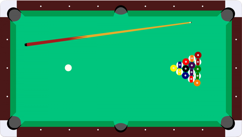 Diagram of pool table, cue stick, cue ball and numbered balls