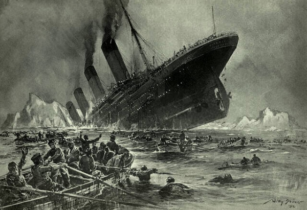 The ocean liner Titanic sinking