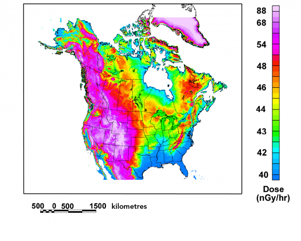 Annual outdoor dose from cosmic radiation for North America (in microsieverts)
