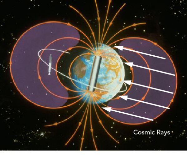 Artist's illustration of the shape and function of the Earth's magnetic field that protects us from harmful cosmic radiation