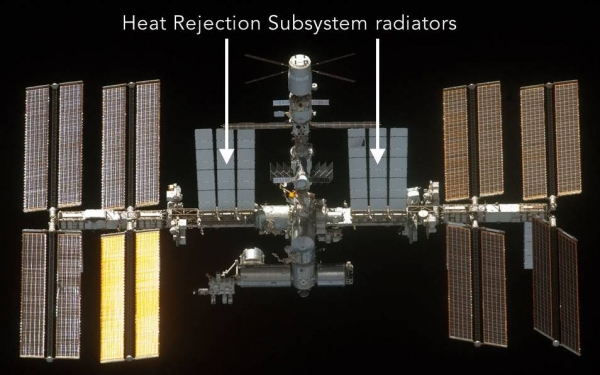 International Space Station showing Heat Rejection System radiators which can be seen on the outside of the space station near the crew modules