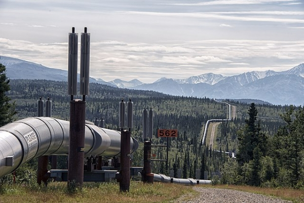 An oil pipeline in the interior of Alaska