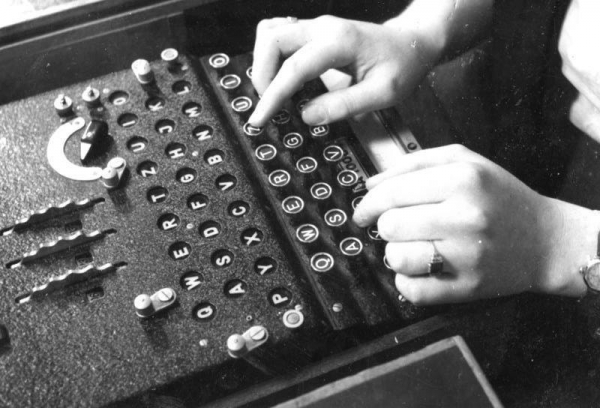 An Enigma machine in use, 1943