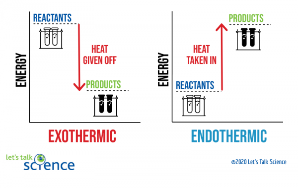 General energy diagrams for exothermic and endothermic reactions