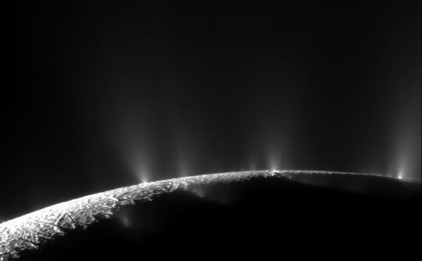 geysers on surface of Enceladus