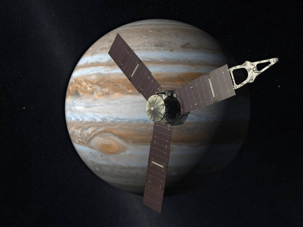 Image of Juno spacecraft near Jupiter